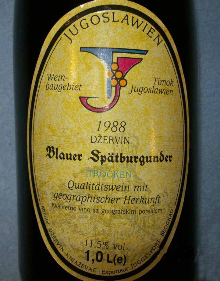 vino Schlossberg Džervin namenjeno nemačkom tržištu