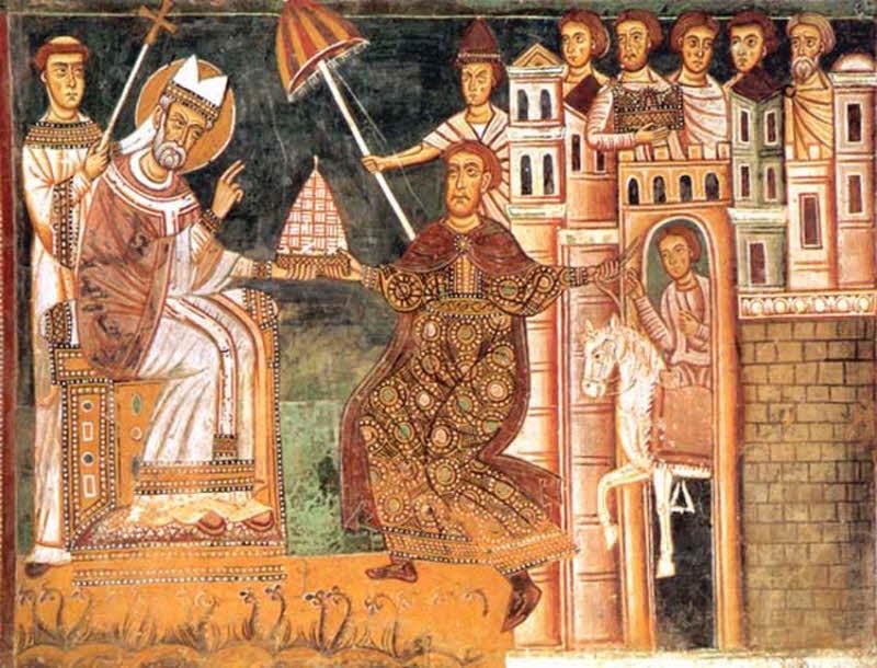 freska iz 13. veka na kojoj se vidi umbrakulum iznad glave Pape Silvestra I